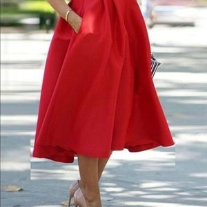 Women Fashion Long A Line Pleated Midi Red Skirt